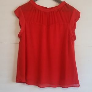 Monteau Red Sheer Blouse XL
